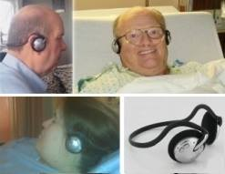 Patients wearing our headphones