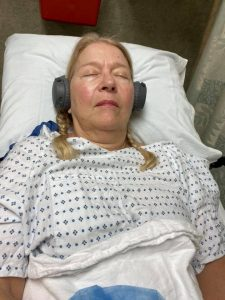 Cataract Surgery with Bluetooth headphones and Surgical Serenity Lullaby playlist